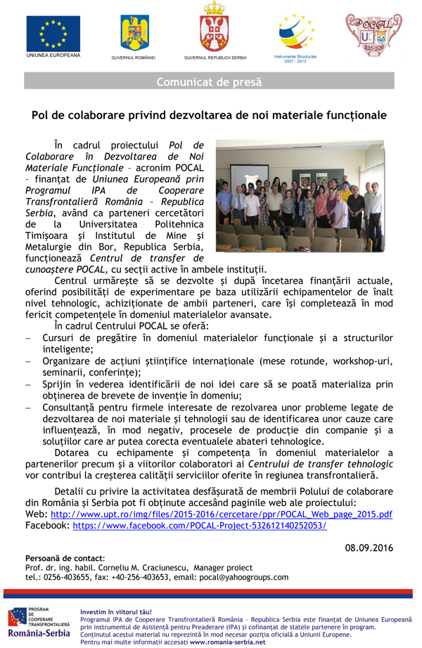 Press release romana septembrie 2016